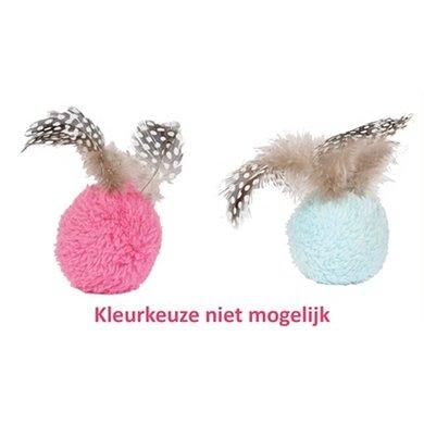 Happy Pet Dotties Bal Met Veren Assorti 5x5x9cm
