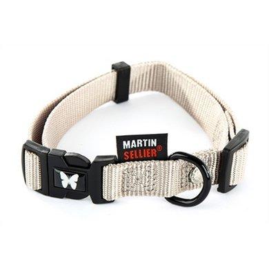 Martin Sellier Halsband Nylon Grijs Verstel 10mm 20-30cm