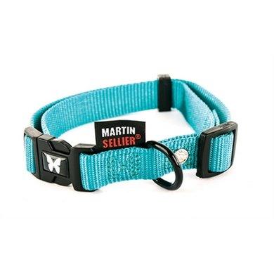 Martin Sellier Halsband Nylon Turquoise Verstel 10mm 20-30cm