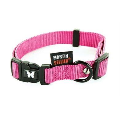 Martin Sellier Halsband Nylon Roze Verstel 16mm 30-45cm