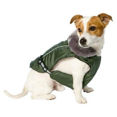 Adori Hondenjas Met Pluche Kraag Groen 35cm