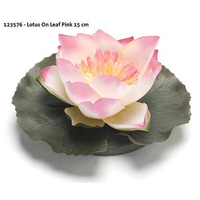 Lotus On Leaf Pink 15cm