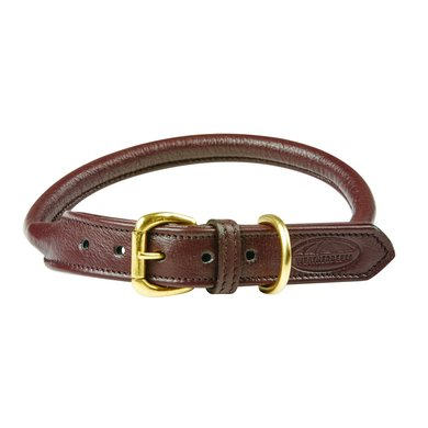 Weatherbeeta Dog Collar Rolled Leather Brown