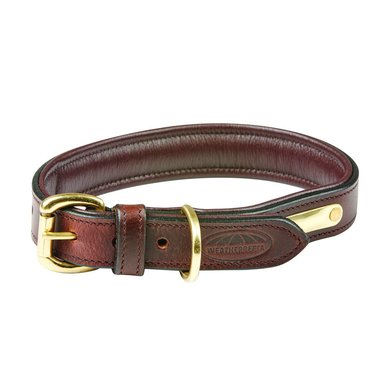 Weatherbeeta Dog Collar Padded Leather Brown